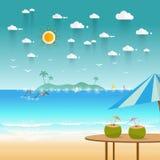 Idyllic paradise coast landscape with mountains. Summer camp vac Stock Images
