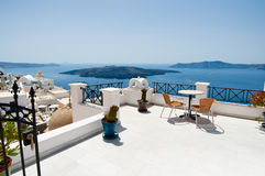 Idyllic patio in Fira capital on the island of Thera(Santorini), Greece. Royalty Free Stock Image