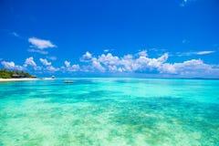 Idyllic perfect turquoise water at exotic island Stock Photo