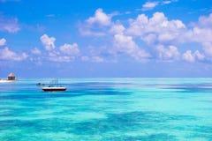 Idyllic perfect turquoise water at exotic island Stock Photos