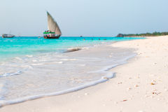 Idyllic perfect turquoise water at exotic island Stock Photography