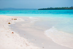 Idyllic perfect turquoise water at exotic island Royalty Free Stock Images