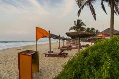 Idyllic place in Gambia. Beautiful beach in Serrekunda in Hotel resorts in Gambia. Africa stock photo