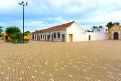 Idyllic Plaza in Mompox, Colombia. Plaza in front of Santa Barbara church in colonial Mompox, Colombia royalty free stock photo