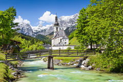 Idyllic Ramsau mountain village in the Alps, Bavaria, Germany Stock Images