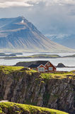 Idyllic red cottage in Iceland. Royalty Free Stock Photos