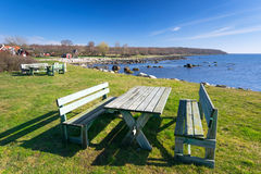 Idyllic rest place. Rest place on Swedish sea coast Royalty Free Stock Images