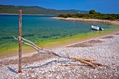 Idyllic rocky beach Sakarun and small boat on Dugi Otok island Stock Images