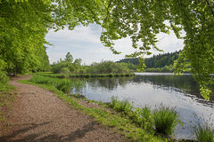 Idyllic route for walking round nature reserve deininger weiher Stock Images