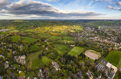 Idyllic rural, aerial view, Cheltenham UK Royalty Free Stock Photo