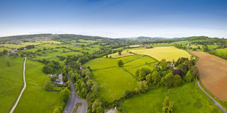 Idyllic rural, aerial view, Cotswolds UK Stock Image
