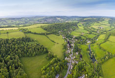 Idyllic rural, aerial view, Cotswolds UK Stock Photography