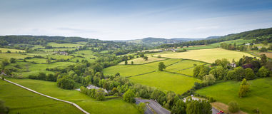 Idyllic rural, aerial view, Cotswolds UK Stock Images