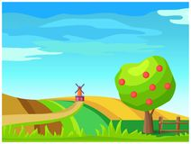 Rural Farm Landscape with Windmill on Field Vector. Idyllic rural farm landscape with windmill on field and apple tree. Ripe fruits on tree, plowed hills and old Royalty Free Stock Image