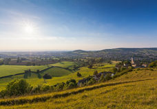 Idyllic rural landscape, Cotswolds UK Stock Photos