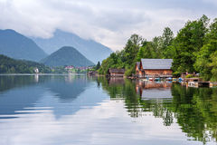 Idyllic scenery of Grundlsee lake in Alps mountains Stock Images