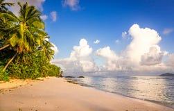 Idyllic scenery of sandy beach in the Seychelles Stock Photo