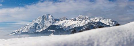 Idyllic snowy mountain peaks, landscape, Alps, Austria stock images