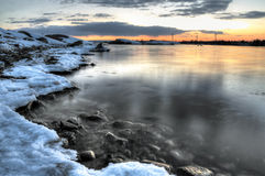Winter sea bay Stock Photography