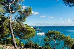 Idyllic sea view with yacht in Majorca Royalty Free Stock Photo