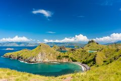 Idyllic seascape from Indonesia with the coastline of Padar Isla. High-angle view of an idyllic seascape from Indonesia with the coastline of Padar Island in a Royalty Free Stock Photography