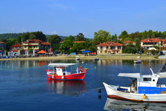 Idyllic seaside small town boats Royalty Free Stock Photo