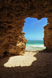 Idyllic Secret Beach In Rocks Stock Images