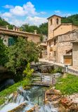 Idyllic sight in Rasiglia, small village near Foligno, province of Perugia. Umbria, Italy. Rasiglia is a small and picturesque village in the Province of royalty free stock image