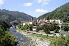 Idyllic Small Italian Village with Belfry stock photos