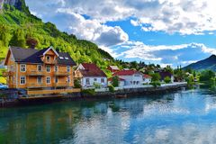 Idyllic small town Stryn in Norway. Town with lovely houses and beautiful fjord Royalty Free Stock Image