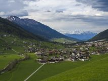 Idyllic spring mountain rural landscape. View over Stubaital or Stubai Valley near Innsbruck, Austria with village Neder. And Neustift im Stubaital, green royalty free stock photography