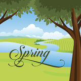 Idyllic spring scene with text Royalty Free Stock Photography