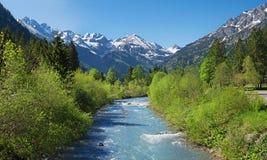 Idyllic stillach river and valley near oberstdorf Stock Photo