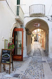 Idyllic street in ancient town Vieste, Italy Royalty Free Stock Photo