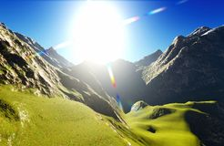 Idyllic summer landscape in the Alps 3d rendering Royalty Free Stock Photo
