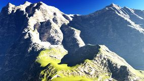 Idyllic summer landscape in the Alps 3d rendering Royalty Free Stock Image