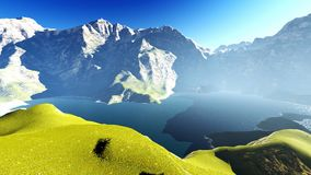 Idyllic summer landscape in the Alps 3d rendering Stock Image