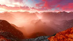 Idyllic summer landscape in the Alps 3d rendering. Idyllic summer landscape in the Alps Stock Photos