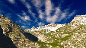 Idyllic summer landscape in the Alps 3d rendering. Idyllic summer landscape in the Alps Royalty Free Stock Photography