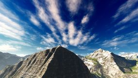 Idyllic summer landscape in the Alps 3d rendering Royalty Free Stock Photography