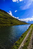 Idyllic summer landscape with clear mountain lake Royalty Free Stock Photography