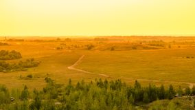 Idyllic summer landscape with green forest, curved road and clear sky. In warm evening sunlight Stock Images