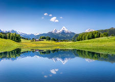 Idyllic summer landscape with lake in the Alps Stock Image