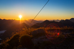 Idyllic sunrise in tyrol mountains Stock Photo