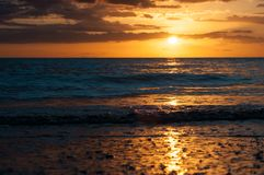 An idyllic sunset picture on the Pacific Coast royalty free stock photography