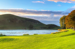 Idyllic sunset scenery at Lough Gur lake Royalty Free Stock Images