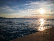 Idyllic sunset at Zadar´s beach stock image