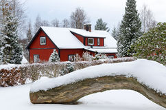 Idyllic Swedish winter Stock Images