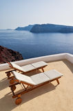 Idyllic terrace in Oia, Santorini Stock Photography
