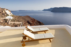 Idyllic terrace in Oia, Santorini, Greece Stock Photos